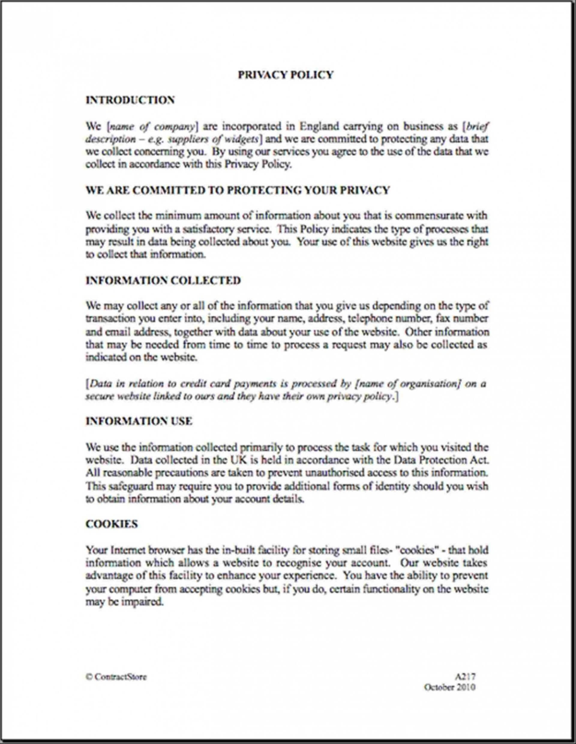 001 Company Privacy Policy Template Uk Ideas Regarding Credit Card Privacy Policy Template