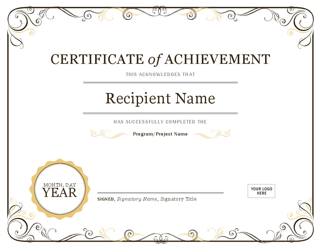 001 Template Ideas Image Certificate Of Achievement Word Within Certificate Of Achievement Template Word