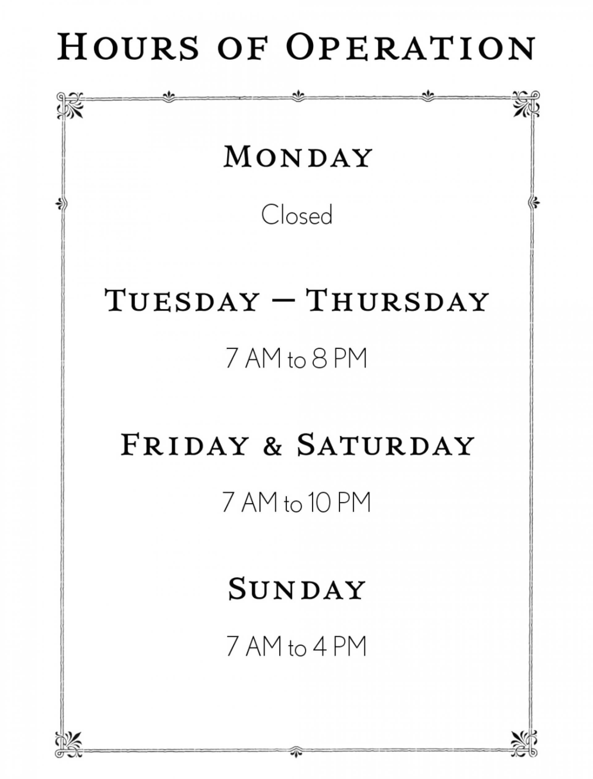 002 Business Hours Template Microsoft Word Ideas Fascinating With Regard To Hours Of Operation Template Microsoft Word