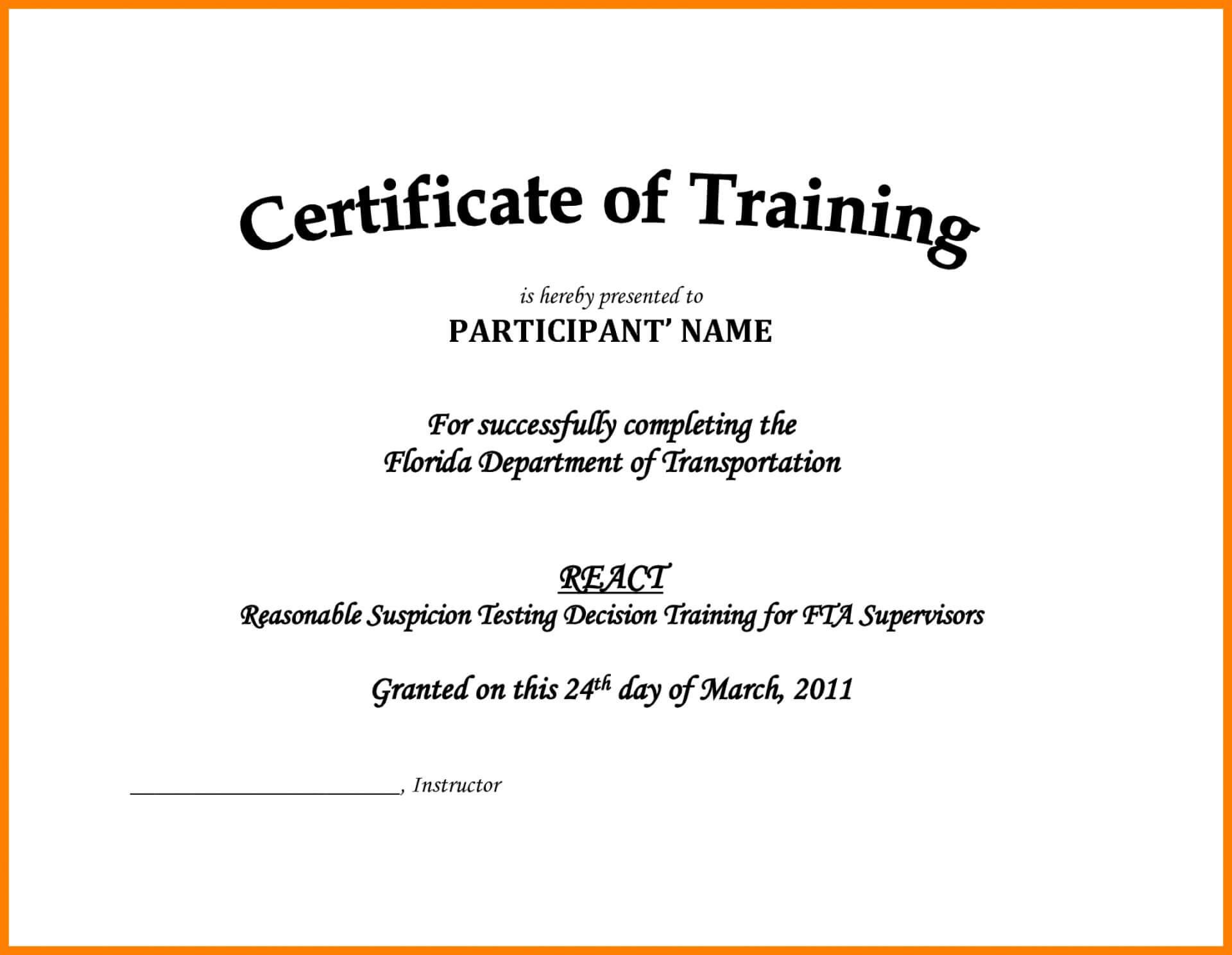 002 Free Printable Training Certificates Templates Pdf Sales With Training Certificate Template Word Format