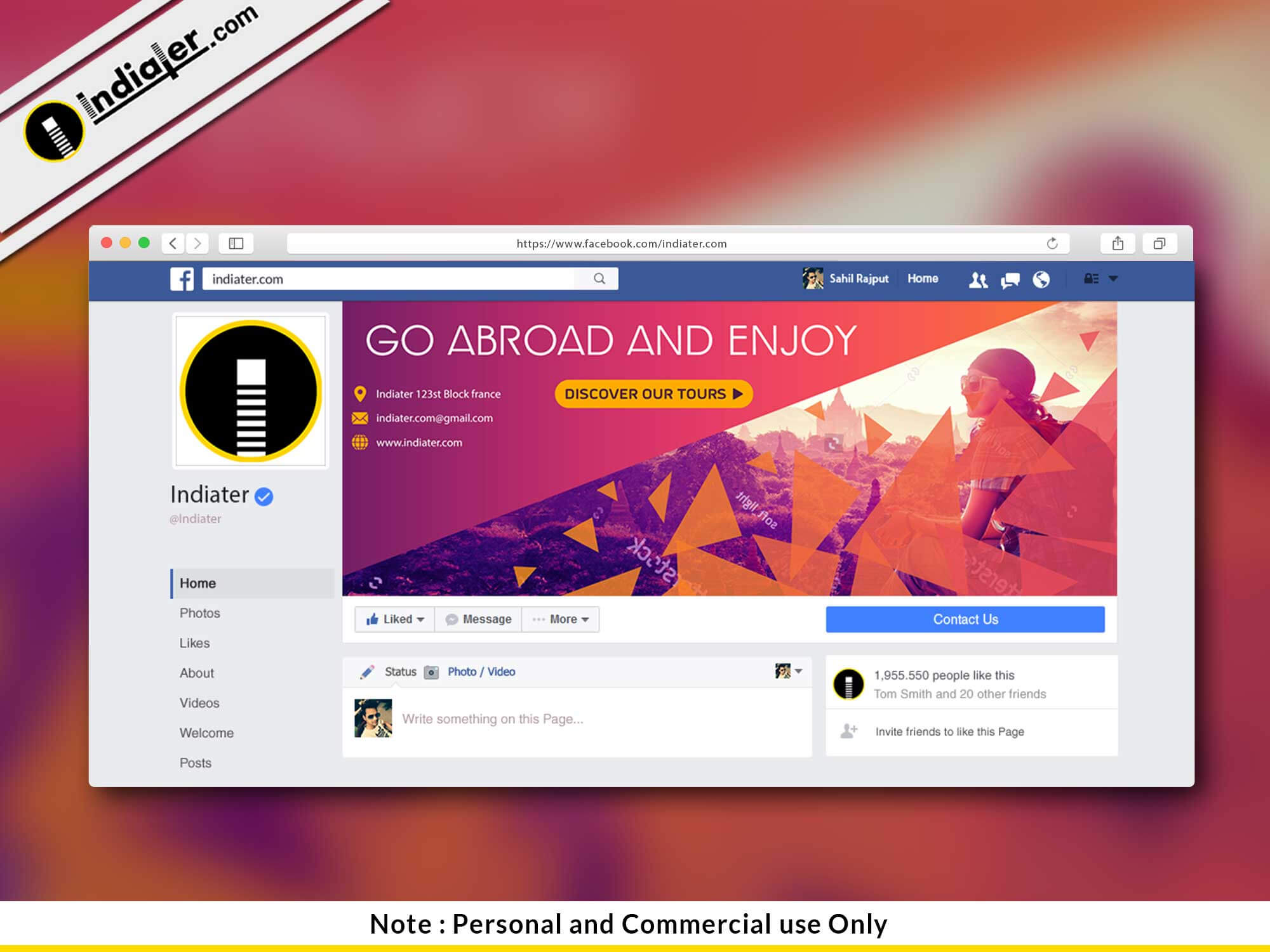 002 Free Travel Facebook Cover Psd Template Photoshop Within Photoshop Facebook Banner Template