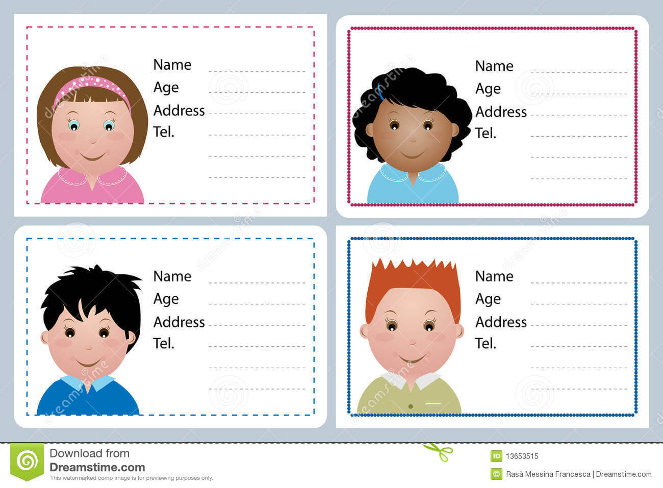 002 Template Ideas Child Id Card Free Flat Astounding Kid With Id Card Template For Kids
