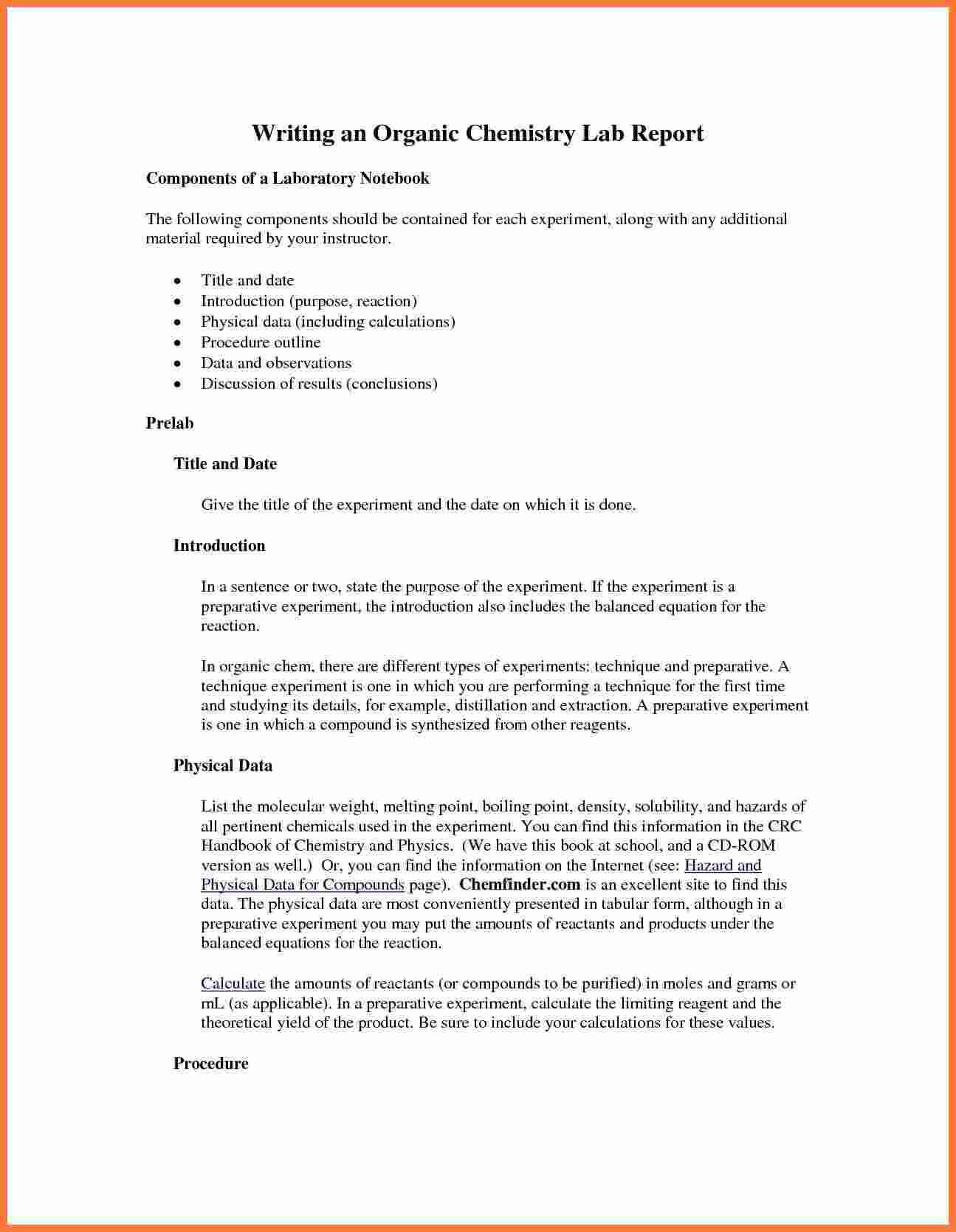 003 Organic Chemistry Lab Report Example Also Ibmistry With Chemistry Lab Report Template