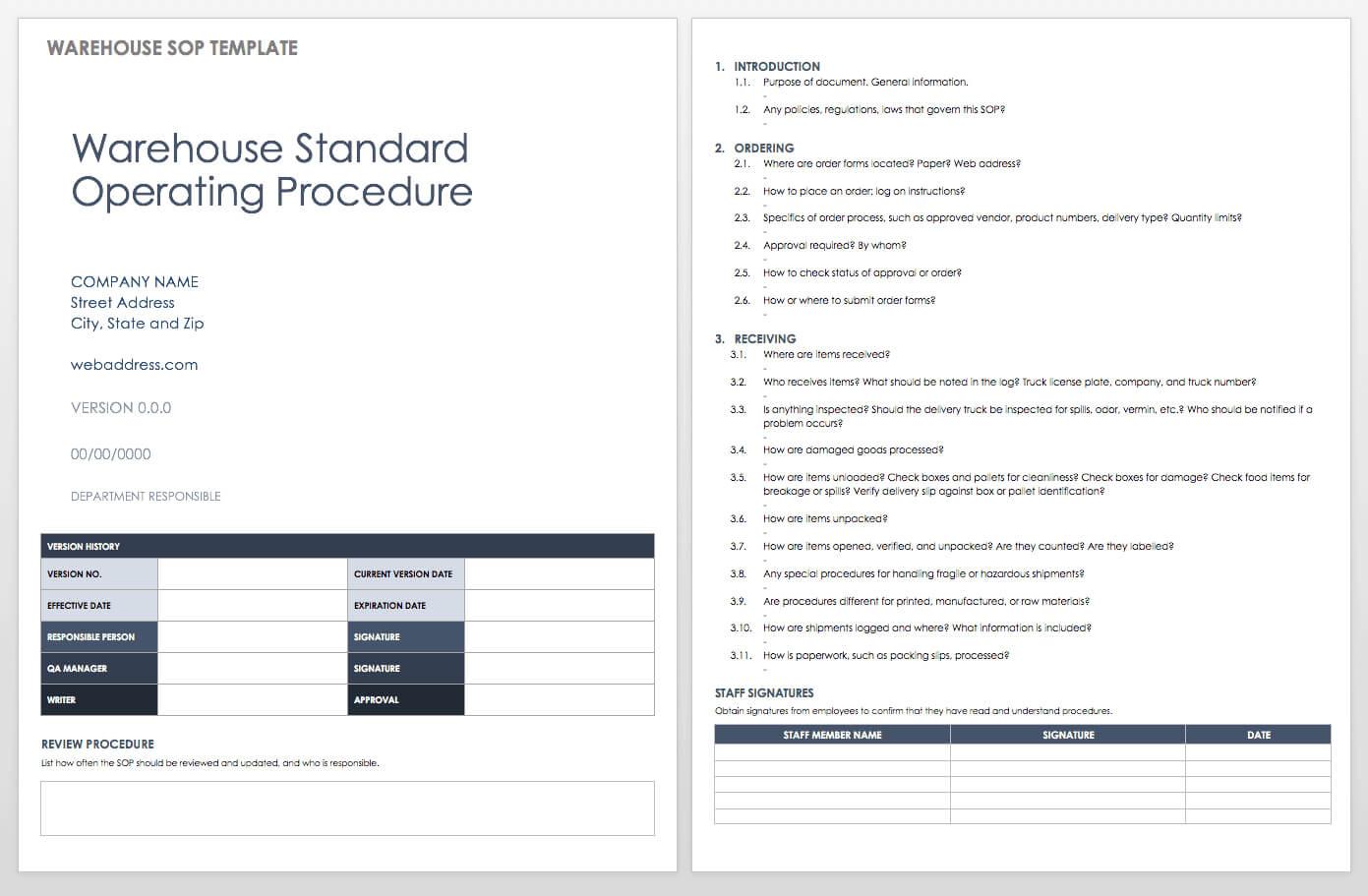 003 Standard Operating Procedure Template Word Ic Warehouse In Free Standard Operating Procedure Template Word 2010