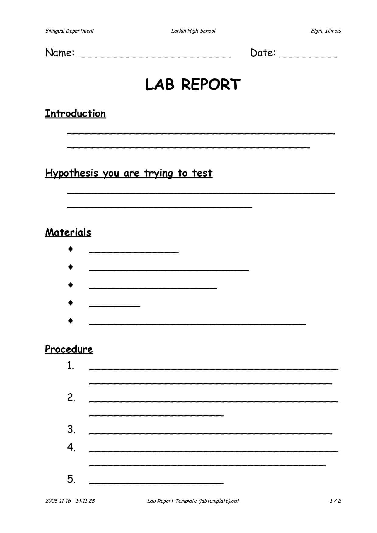 003 Template Ideas Lab Report Middle School Impressive With Regard To Lab Report Template Middle School