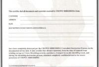 004 Certificate Of Destruction Template Free Form pertaining to Free Certificate Of Destruction Template