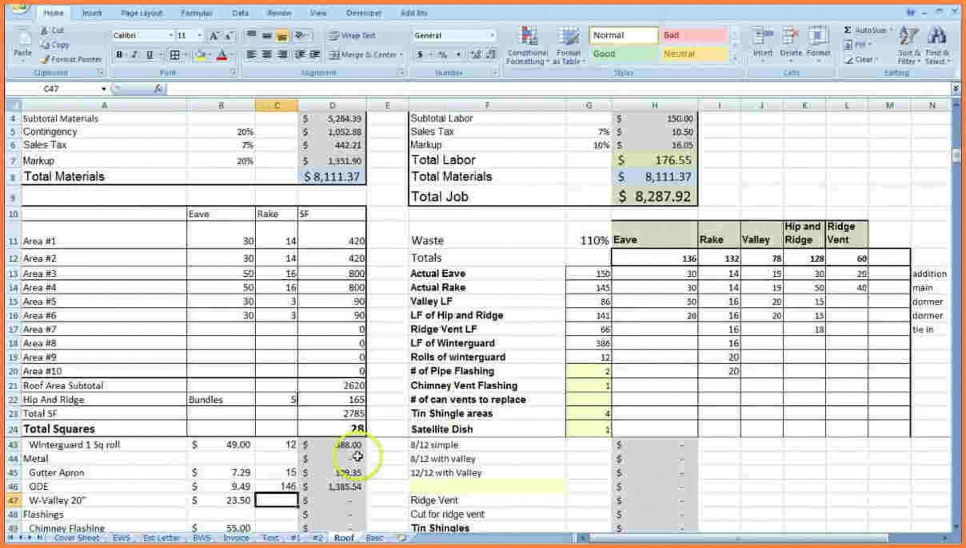 004 Free Construction Cost Estimate Excel Template In India Pertaining To Job Cost Report Template Excel
