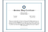 004 Template Ideas Service Dog Certificate Elegant regarding Service Dog Certificate Template