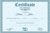 005 Marriage Certificate Template28129 Of Template Beautiful with regard to Certificate Of Marriage Template