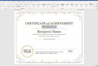 005 Microsoft Word Certificate Template Ideas Capture with regard to Microsoft Word Certificate Templates
