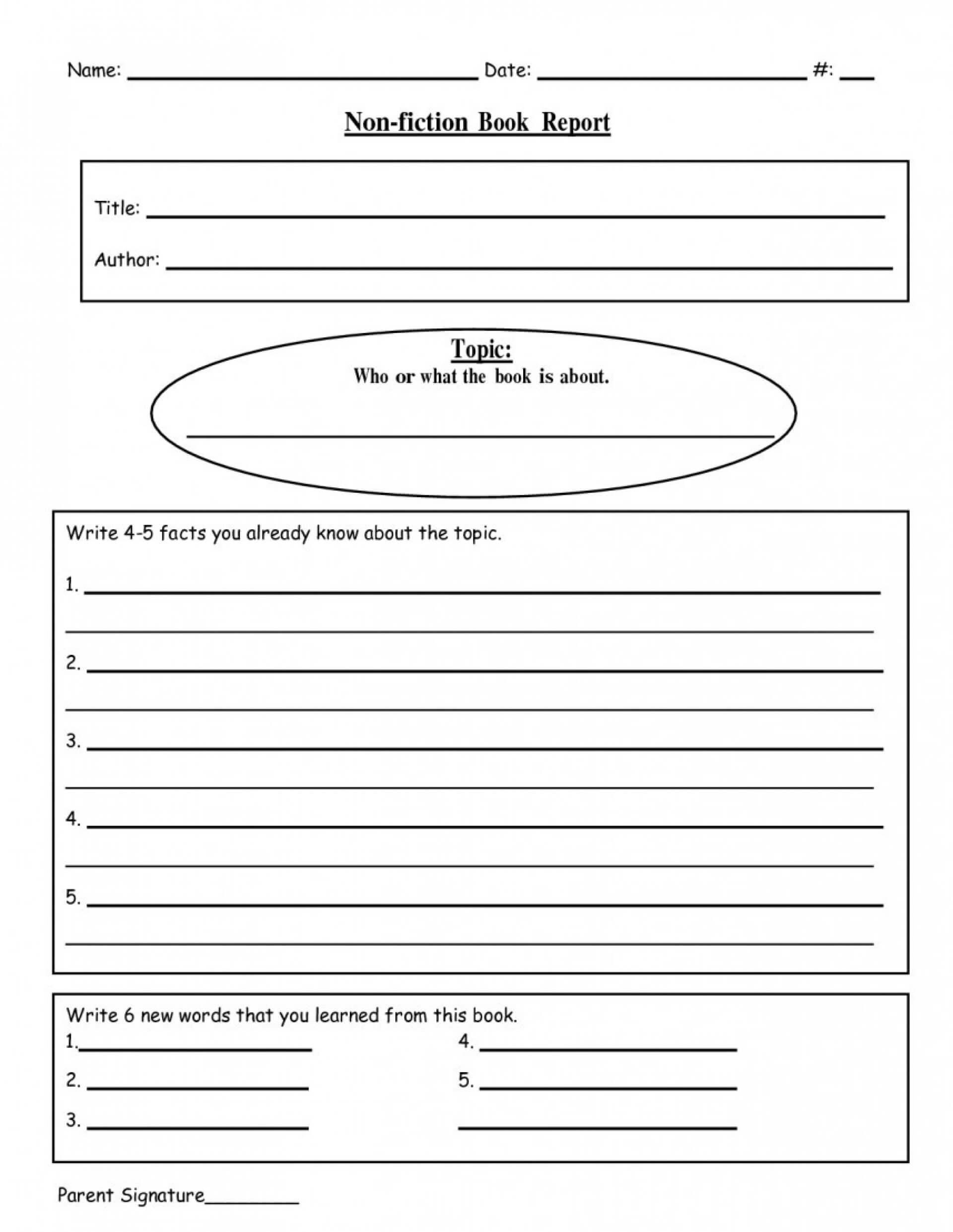 005 Writing Biography Template 4Th Grade Ideas Book Report For Book Report Template 4Th Grade
