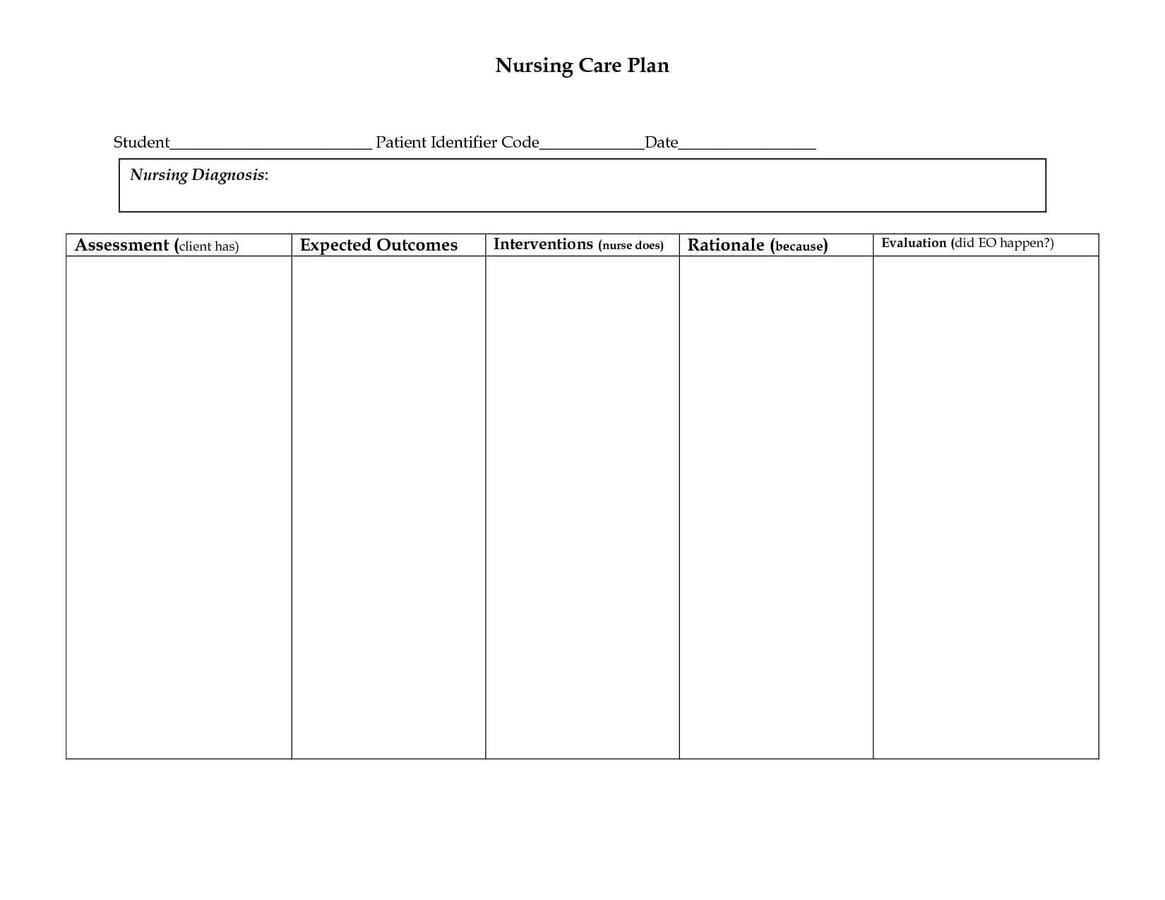 006 Nursing Care Plan Template Ideas Free Templates Business With Nursing Care Plan Template Word