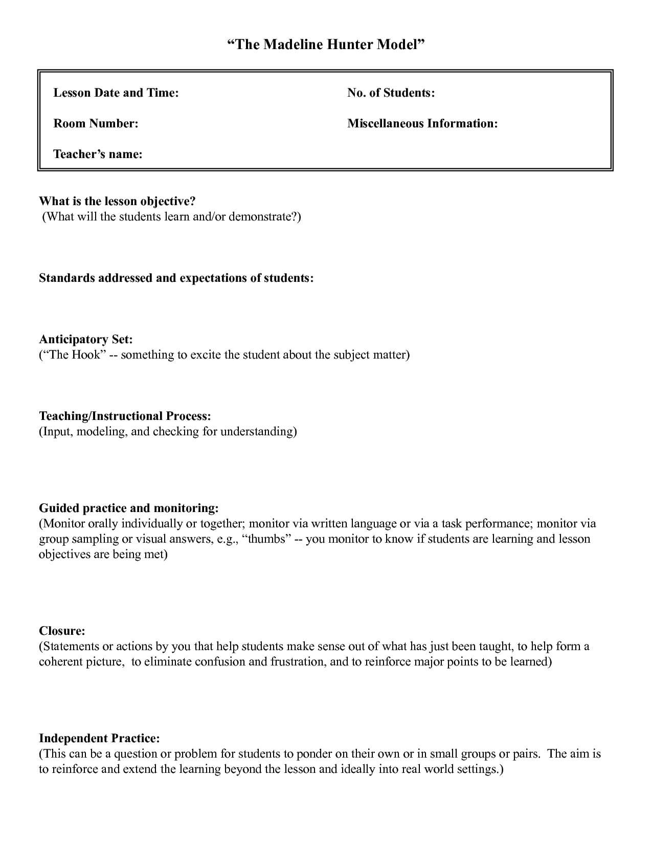 006 Template Ideas Madelineer Lesson Plan Best Business Throughout Madeline Hunter Lesson Plan Template Word