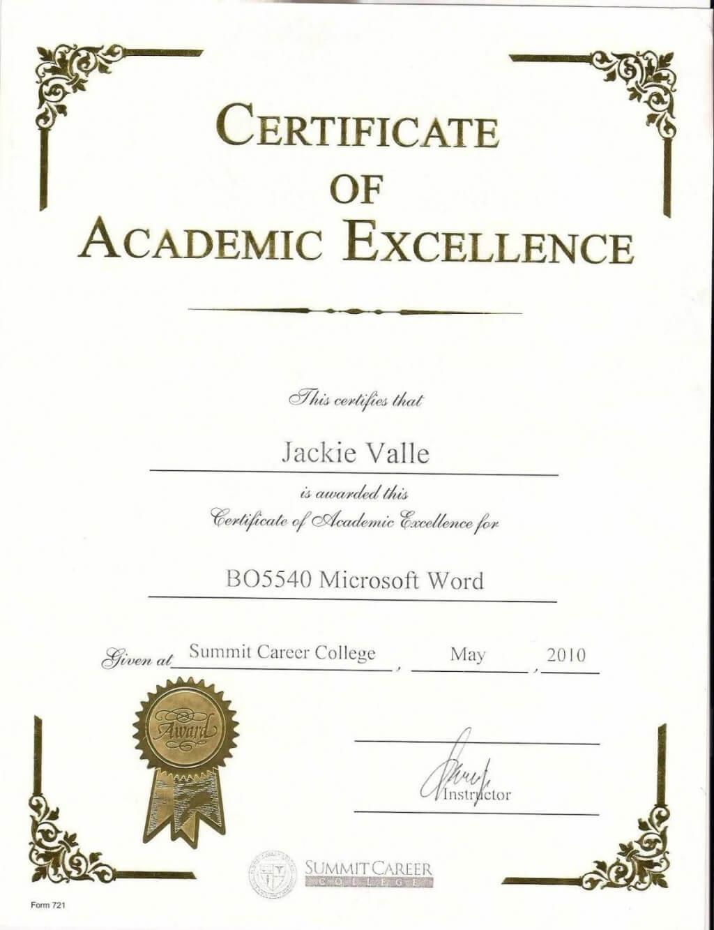 006 Terrific Award Certificate Template Word Sample For Academic Award Certificate Template