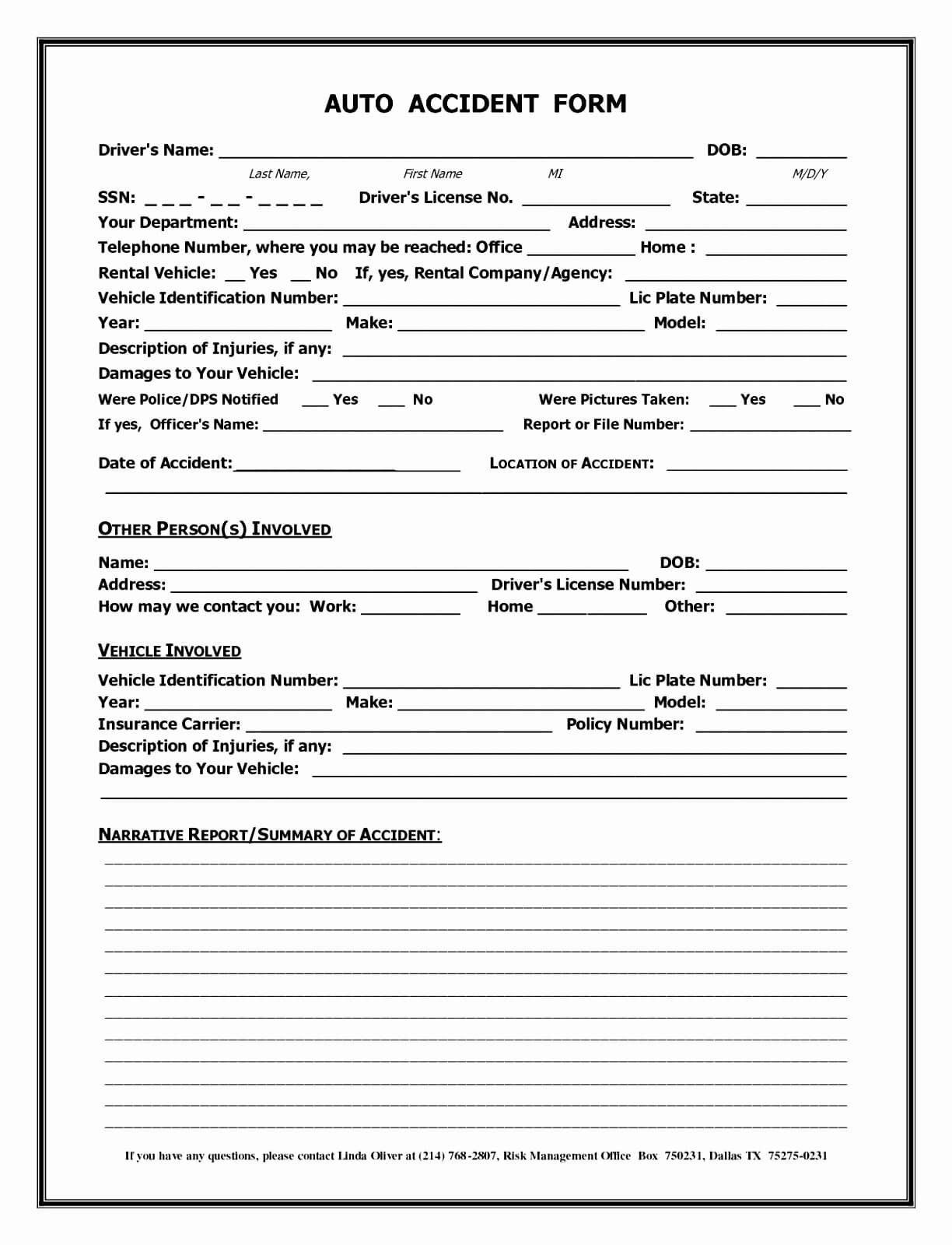 007 Accident Report Forms Template Auto Form California With Regard To Motor Vehicle Accident Report Form Template