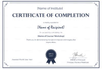 007 Certificate Of Completion Template Ideas Fantastic with regard to Certification Of Completion Template