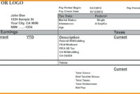 008 Free Payroll Check Stub Template Download Pay inside Blank Pay Stubs Template