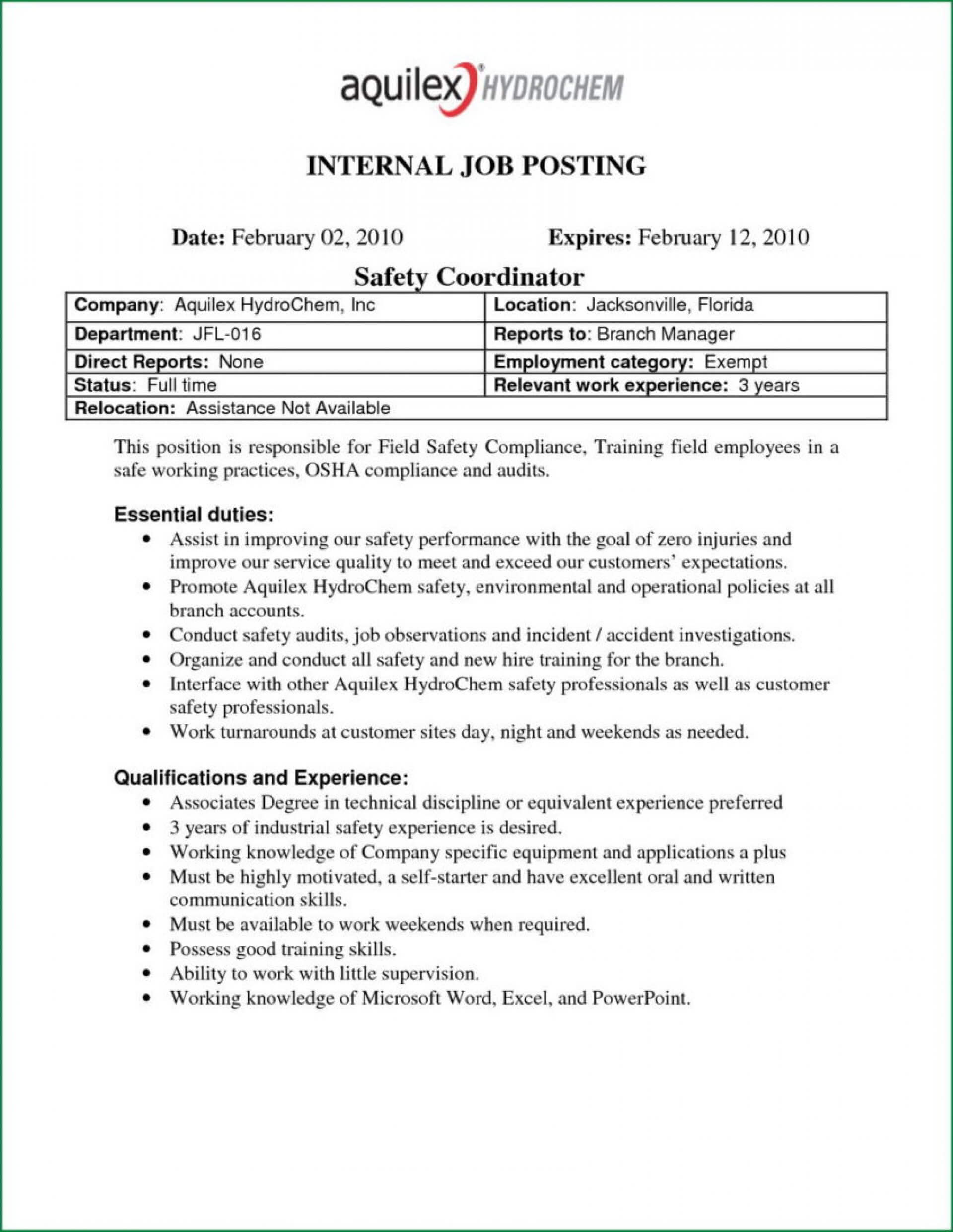 008 Template Ideas Cover Letter Example Internal Job Posting Inside Internal Job Posting Template Word