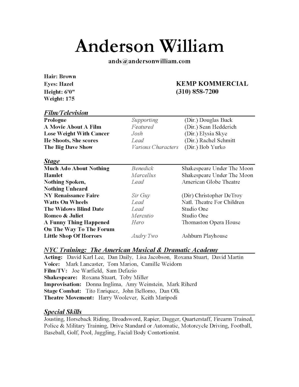 009 Beginner Actor Resume Template Unusual Ideas Beginning In Theatrical Resume Template Word