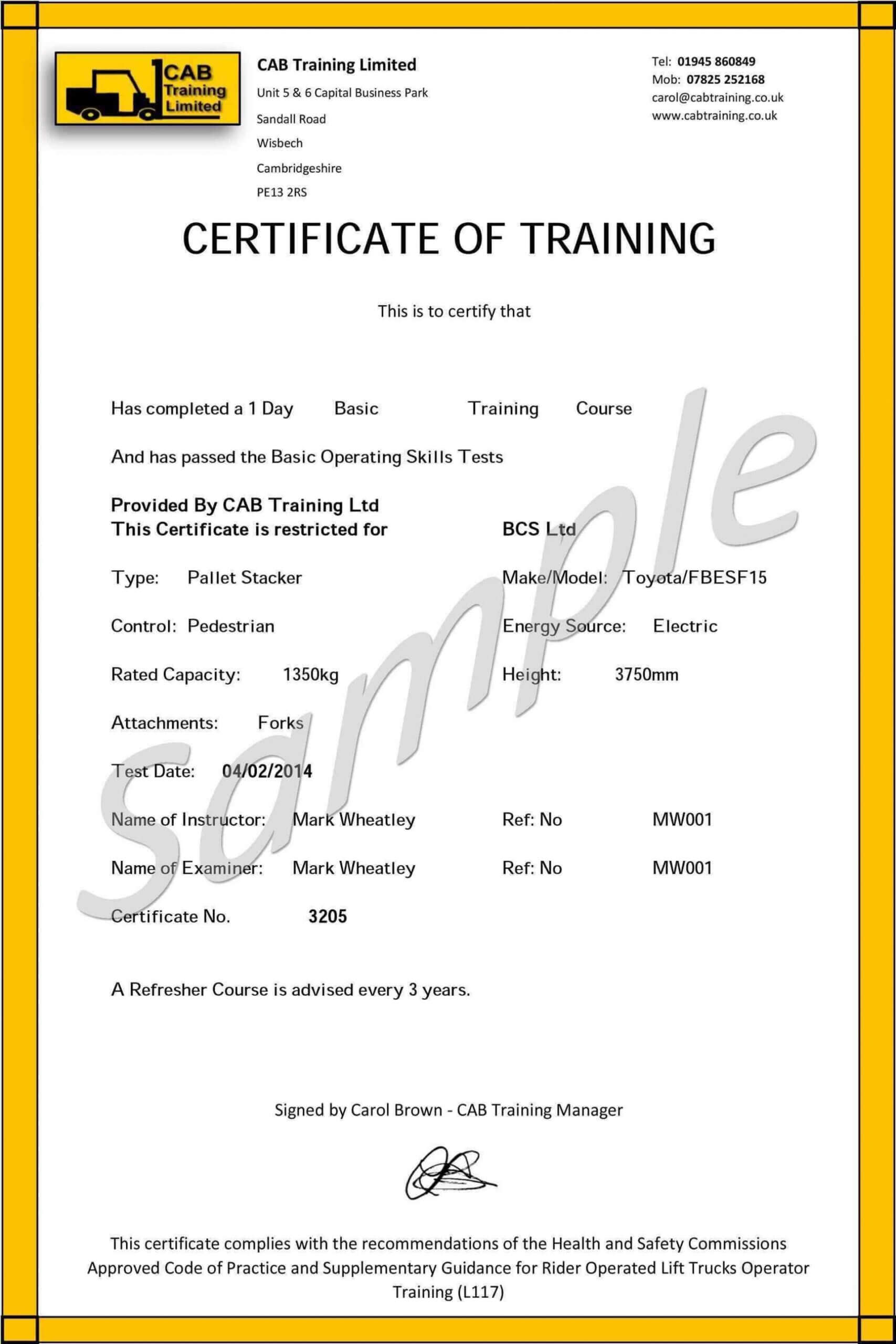 009 Forklift Certification Card Template Free Original For Forklift Certification Card Template
