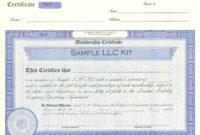 009 Llc Member Certificate Template Ideas Staggering Pertaining To New Member Certificate Template