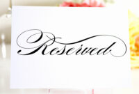 010 Free Printable Reserved Table Signs Template Of Best With Regard To Reserved Cards For Tables Templates