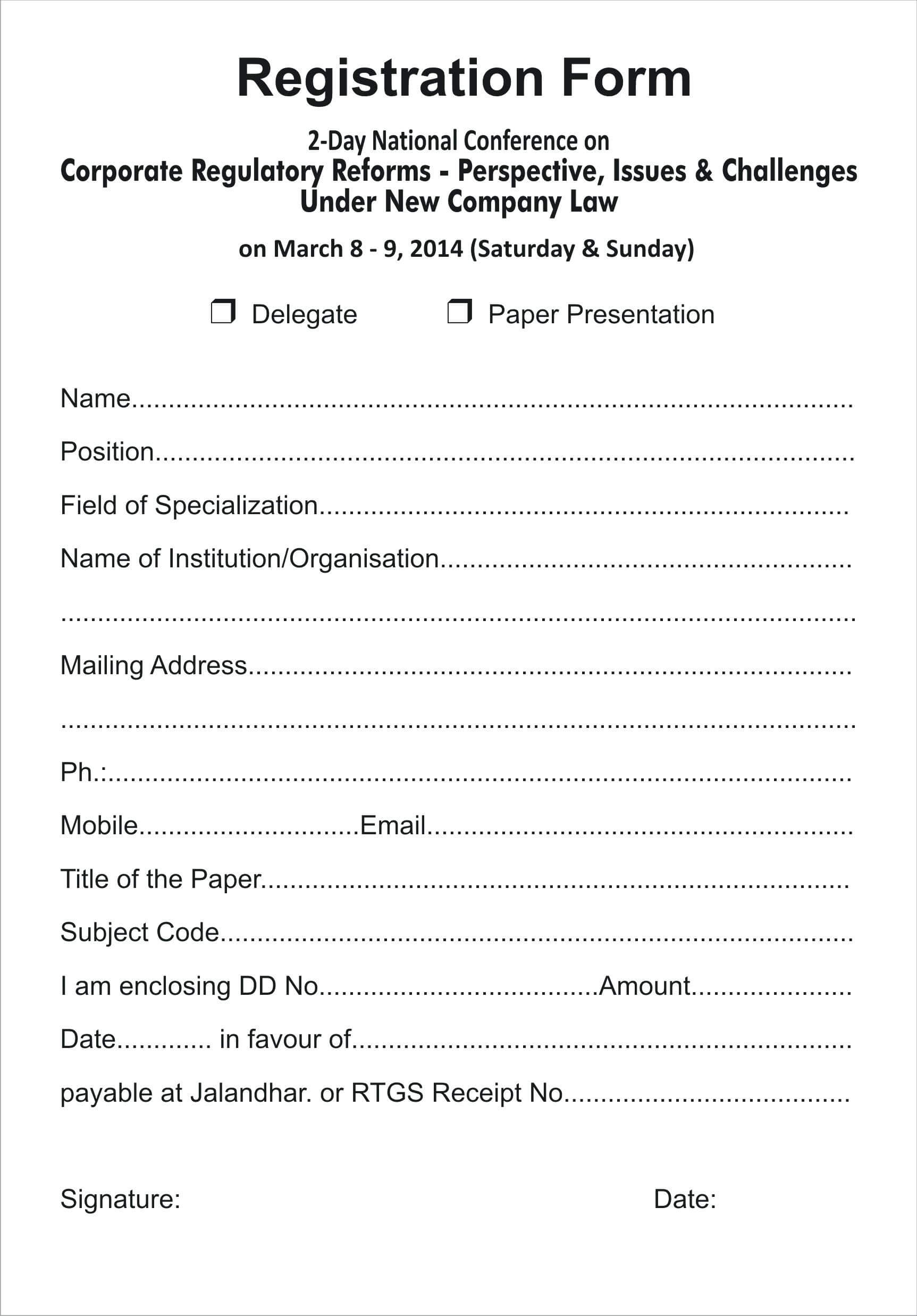 010 Printable Registration Form Templates Word Excel Samples Within Registration Form Template Word Free