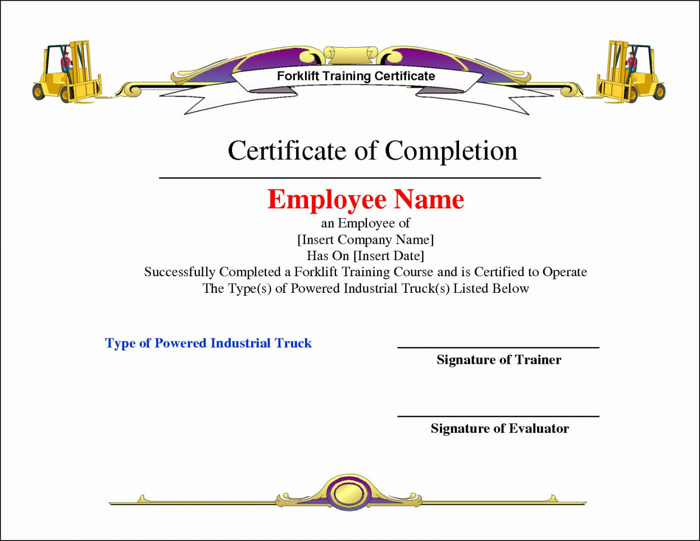 012 Template Ideas Forklift Certificates Templates Free Throughout Forklift Certification Template