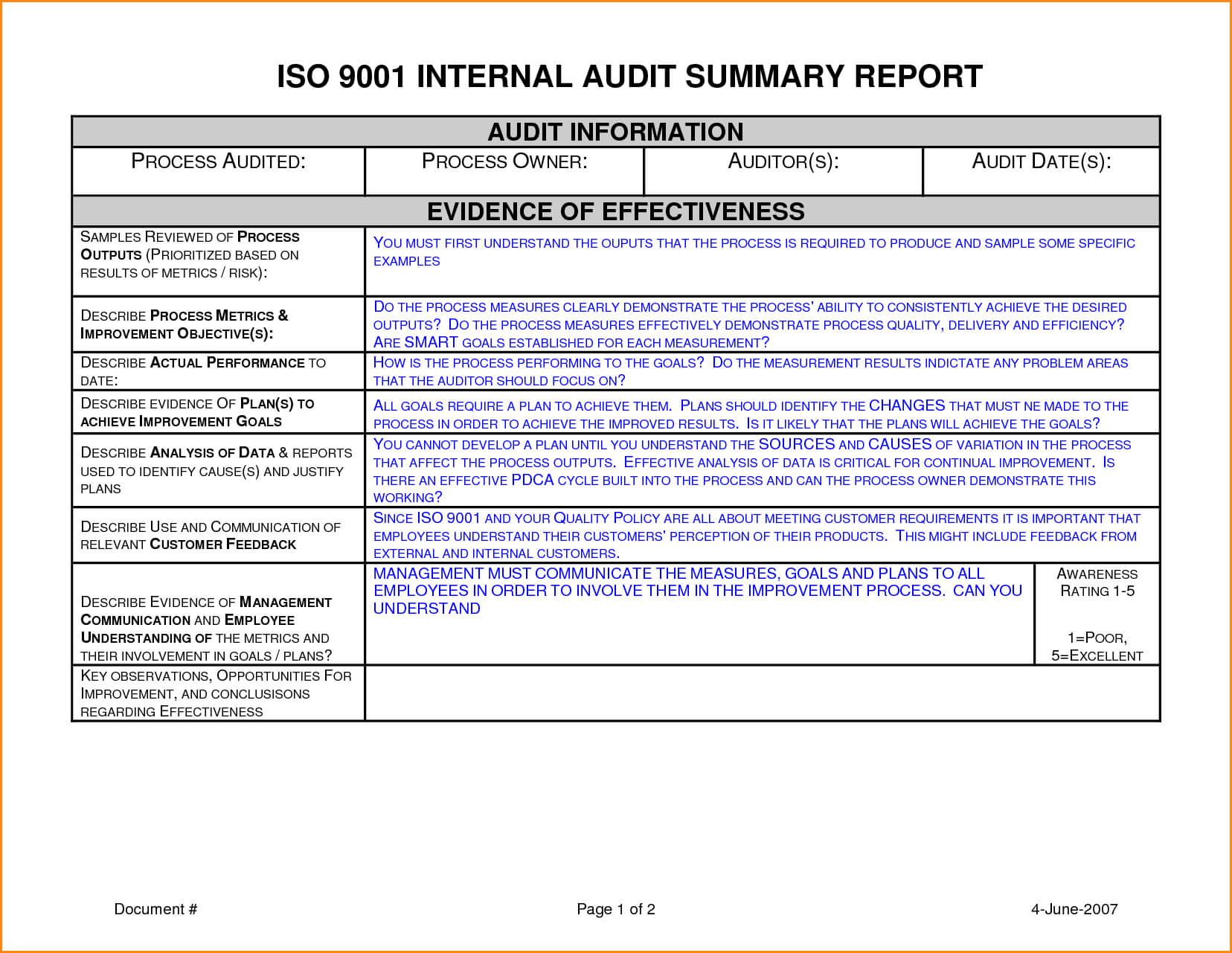 012 Template Ideas Internal Audit Report Sample Unbelievable With Regard To Internal Audit Report Template Iso 9001