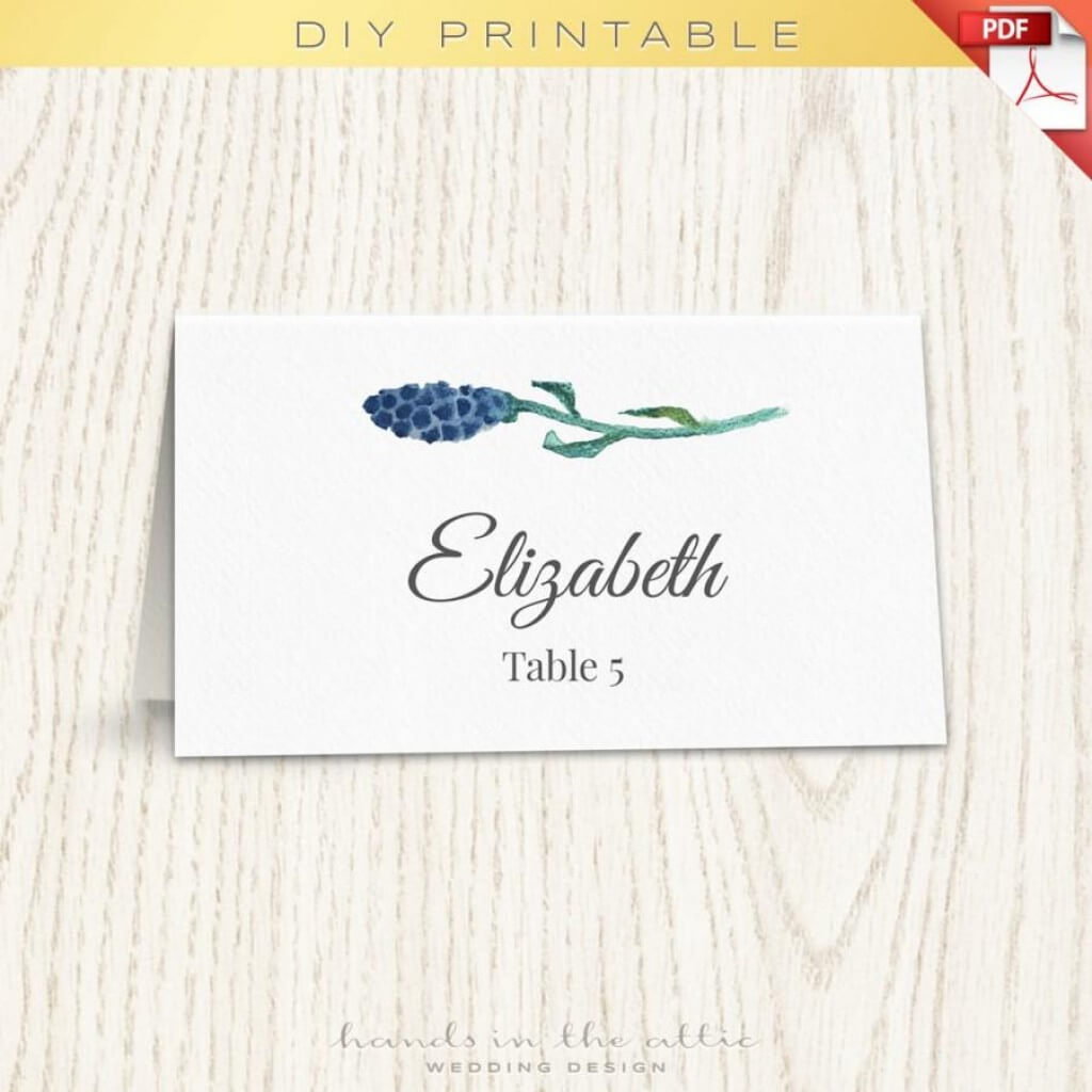 012 Wedding Name Card Template Floral Placecard Printable With Printable Escort Cards Template