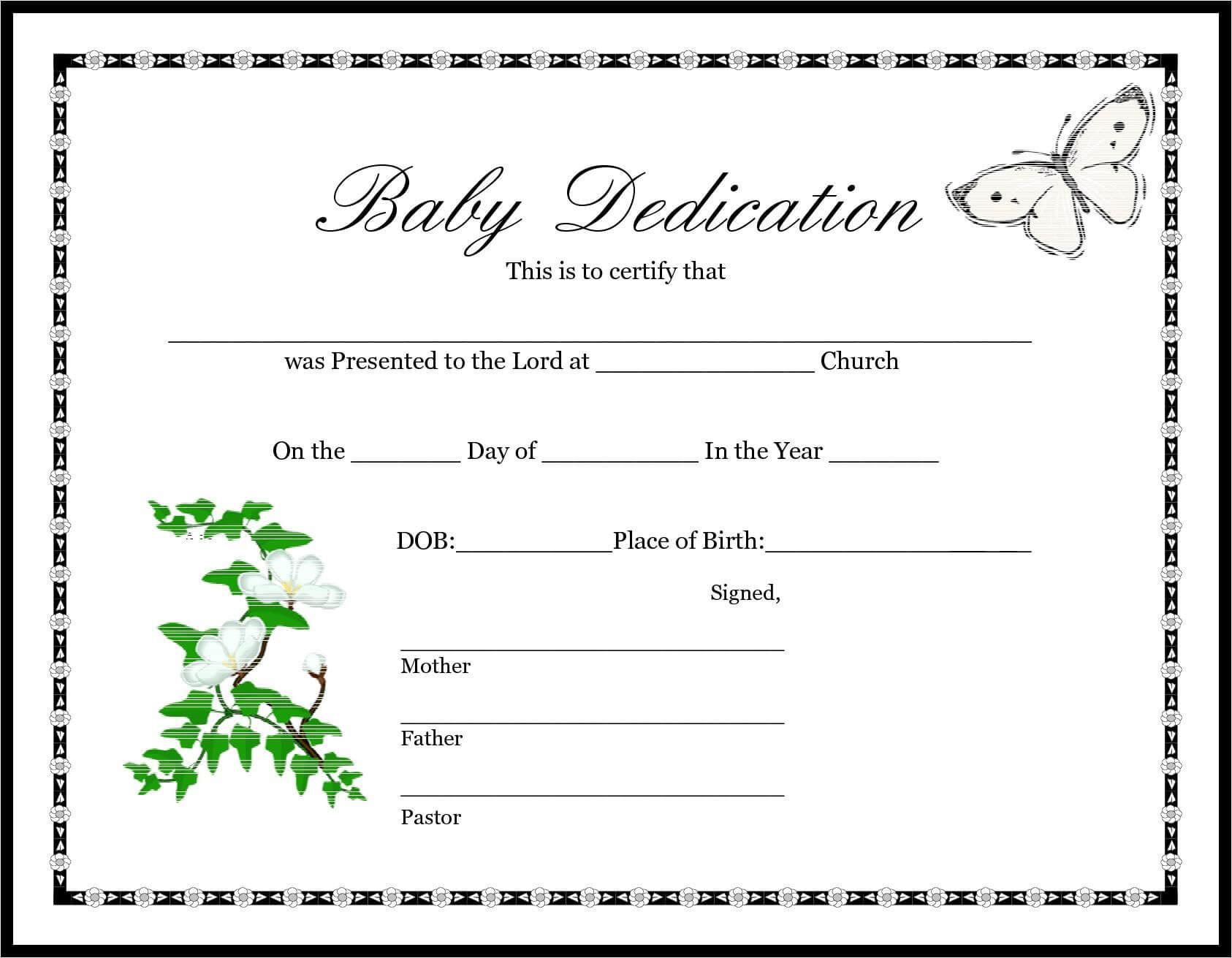 013 Appealing Official Birth Certificate Template Sample Regarding Baby Dedication Certificate Template