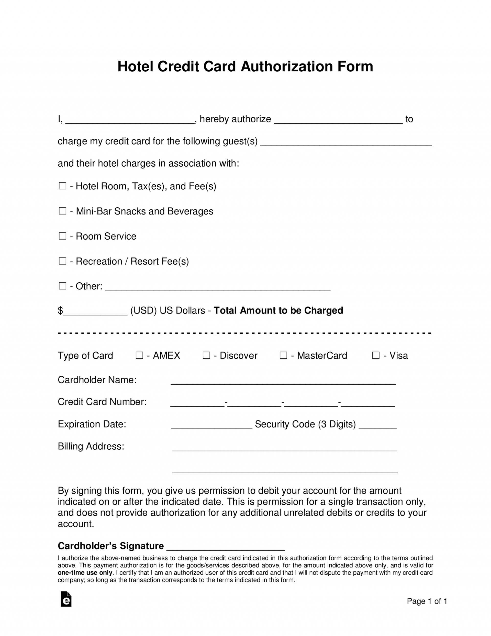 013 Credit Card Authorization Form Template Doc Hotel For Hotel Credit Card Authorization Form Template