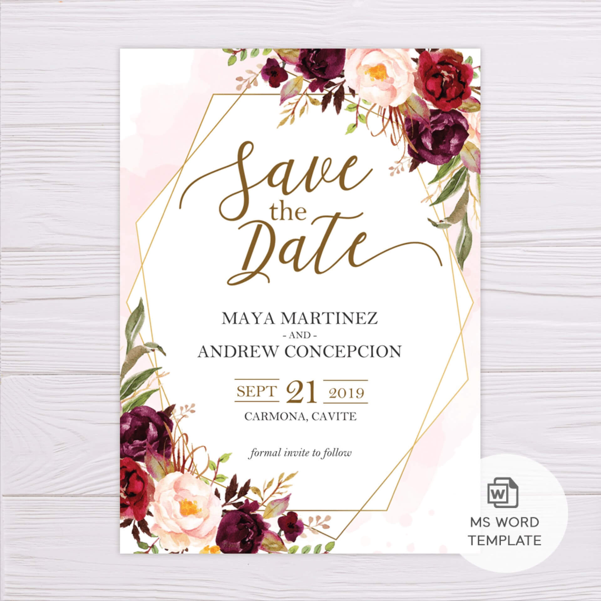 014 Free Customizable Save The Date Templates Word Template Throughout Save The Date Template Word