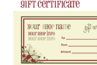 014 Template Ideas For Gift Unique Certificate Free Massage pertaining to Homemade Christmas Gift Certificates Templates