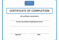 017 Template Ideas Training Certificate Of Completion throughout Training Certificate Template Word Format