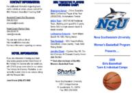 018 Basketball Camp Brochure Template Free Ideas 265362 within Basketball Camp Brochure Template