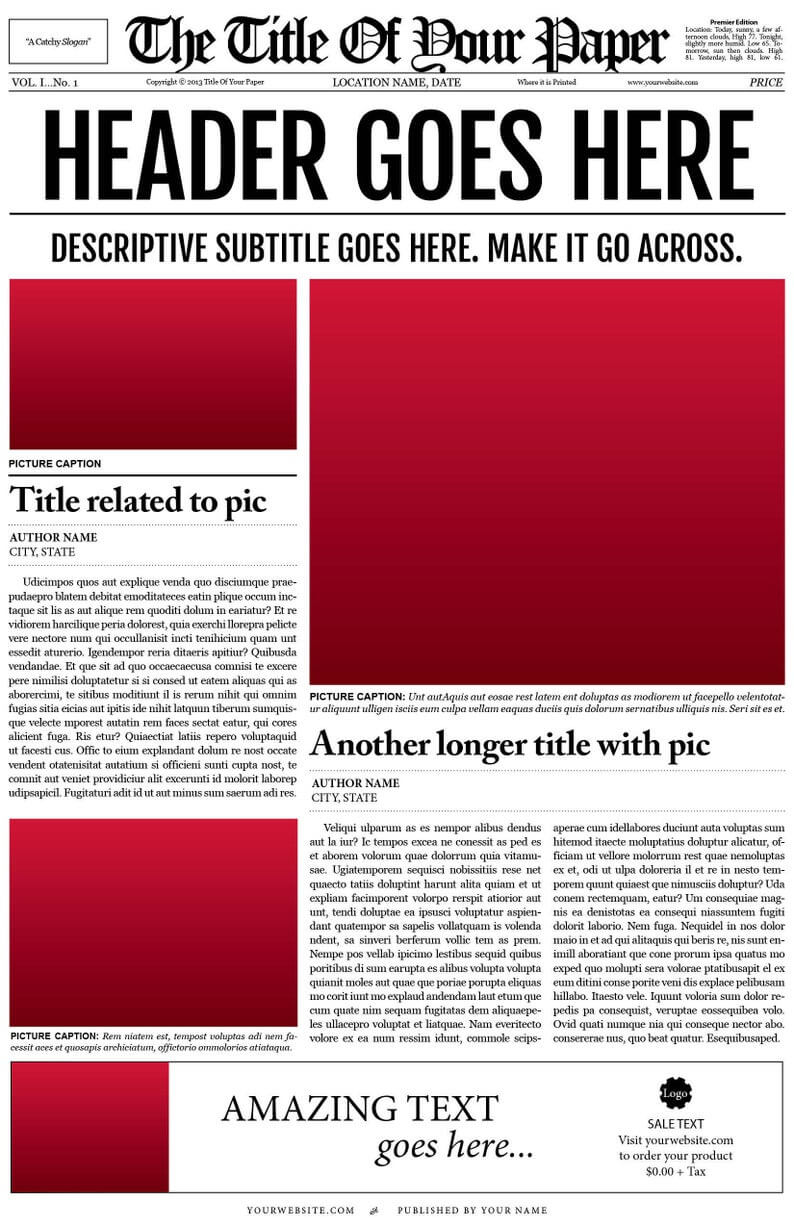 018 Free Newspaper Template For Word Ideas Microsoft Il For Blank Newspaper Template For Word