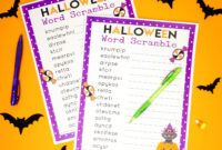 020 Halloween Word Scramble For Kids And Adults Template inside Halloween Certificate Template
