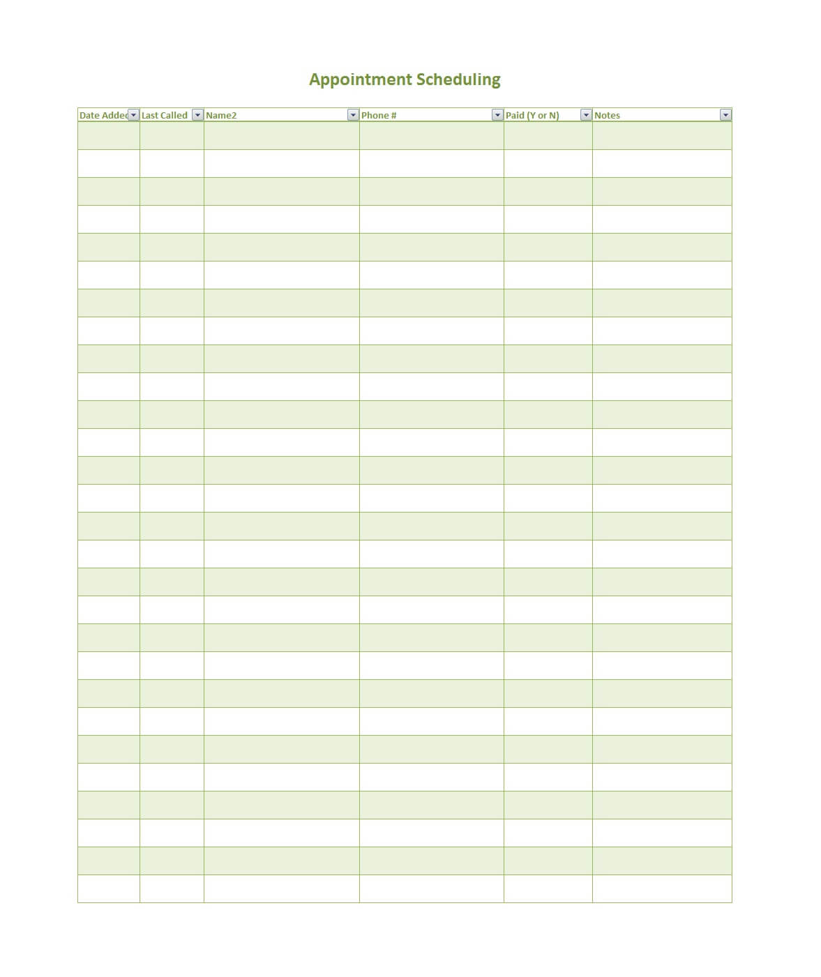 020 Printable Appointment Schedule Templates Regarding Sheet Throughout Appointment Sheet Template Word