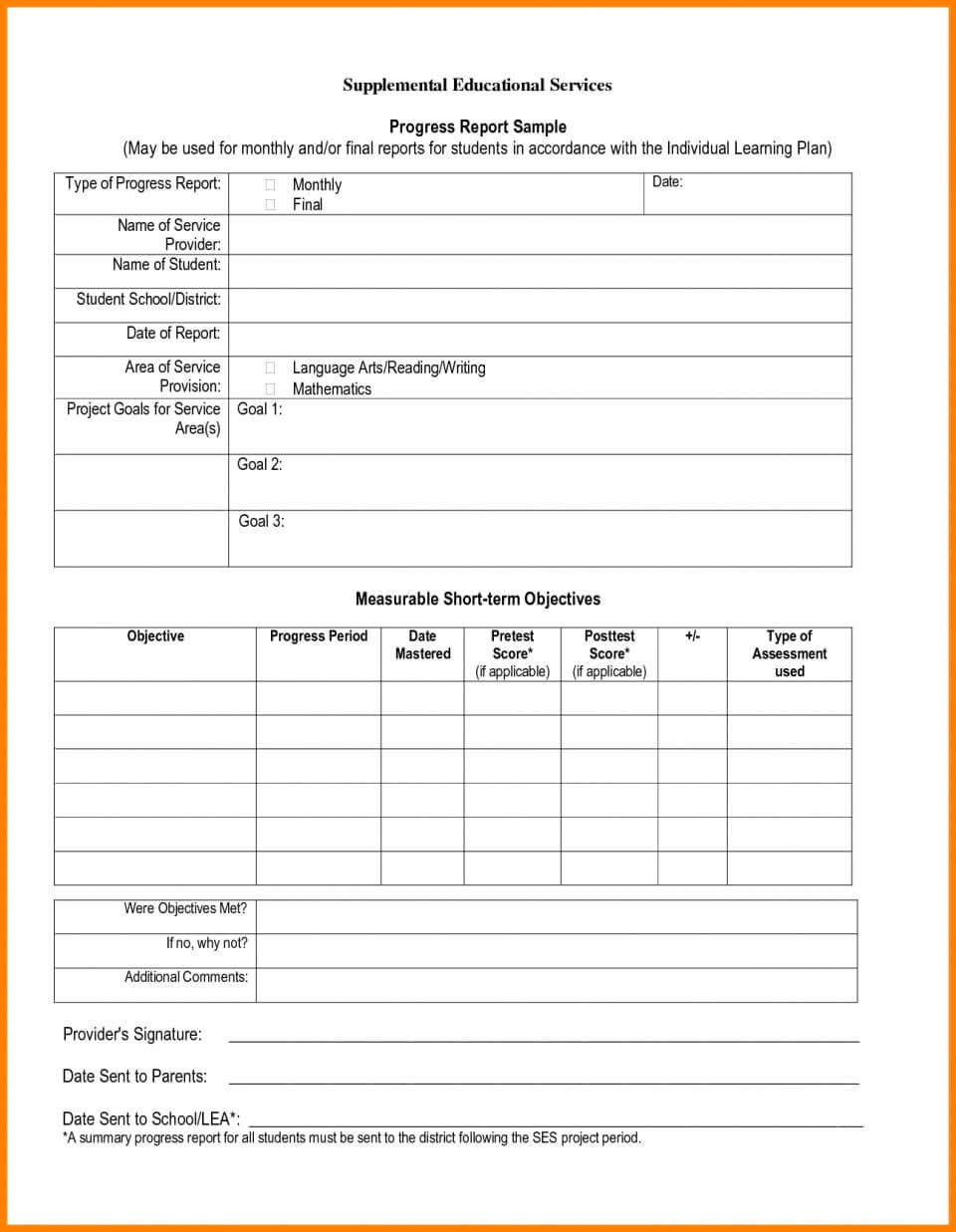 024 School Progress Report Template Doc Elementary Ample Pdf Throughout Educational Progress Report Template