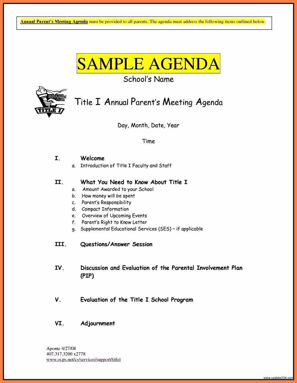 024 Template Ideas Parent Teacher Conference Agenda Example Inside Event Agenda Template Word