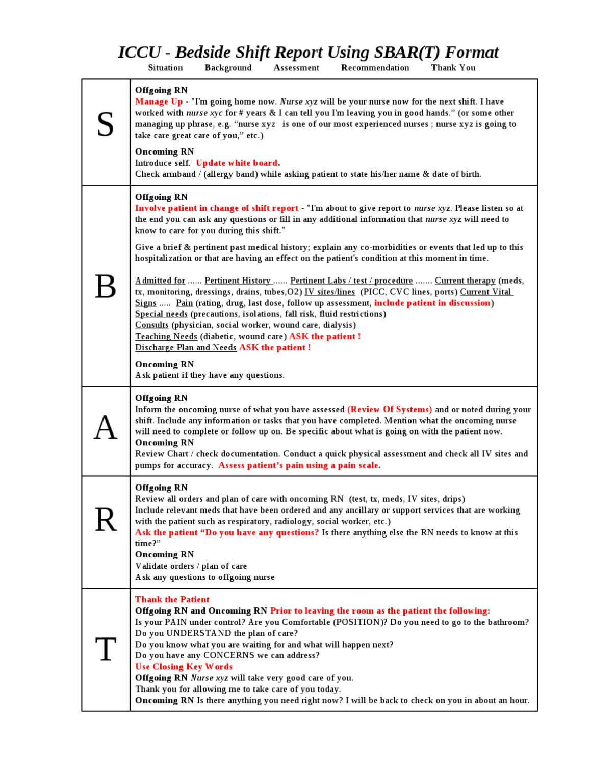 027 Page 1 Nursing Shift Report Template Unforgettable Ideas For Sbar Template Word