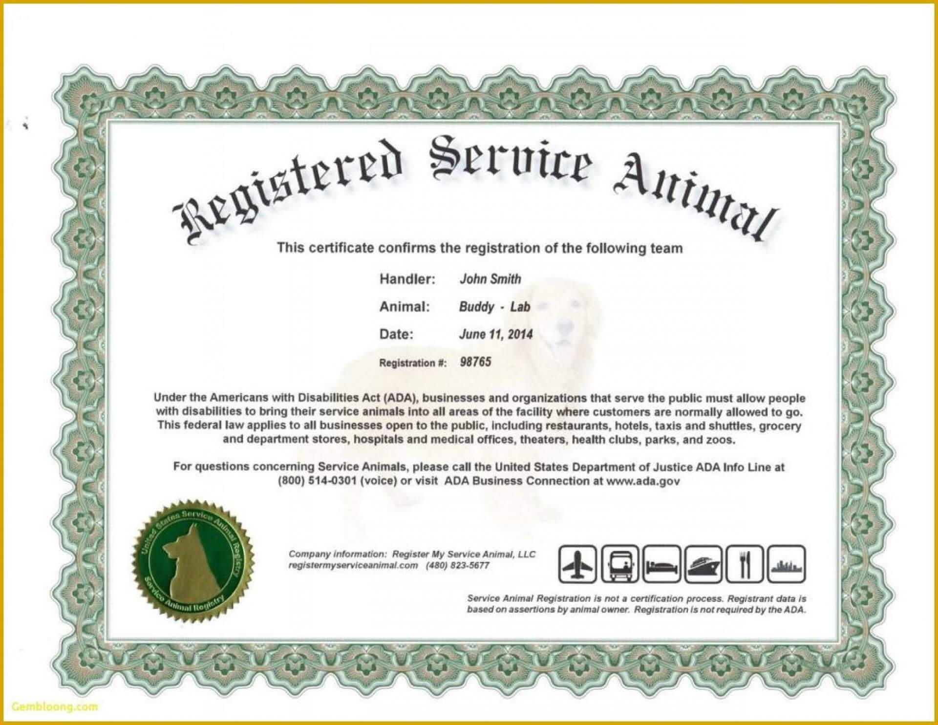 027 Service Dog Certificate Templateeas Emotional Support Inside Service Dog Certificate Template