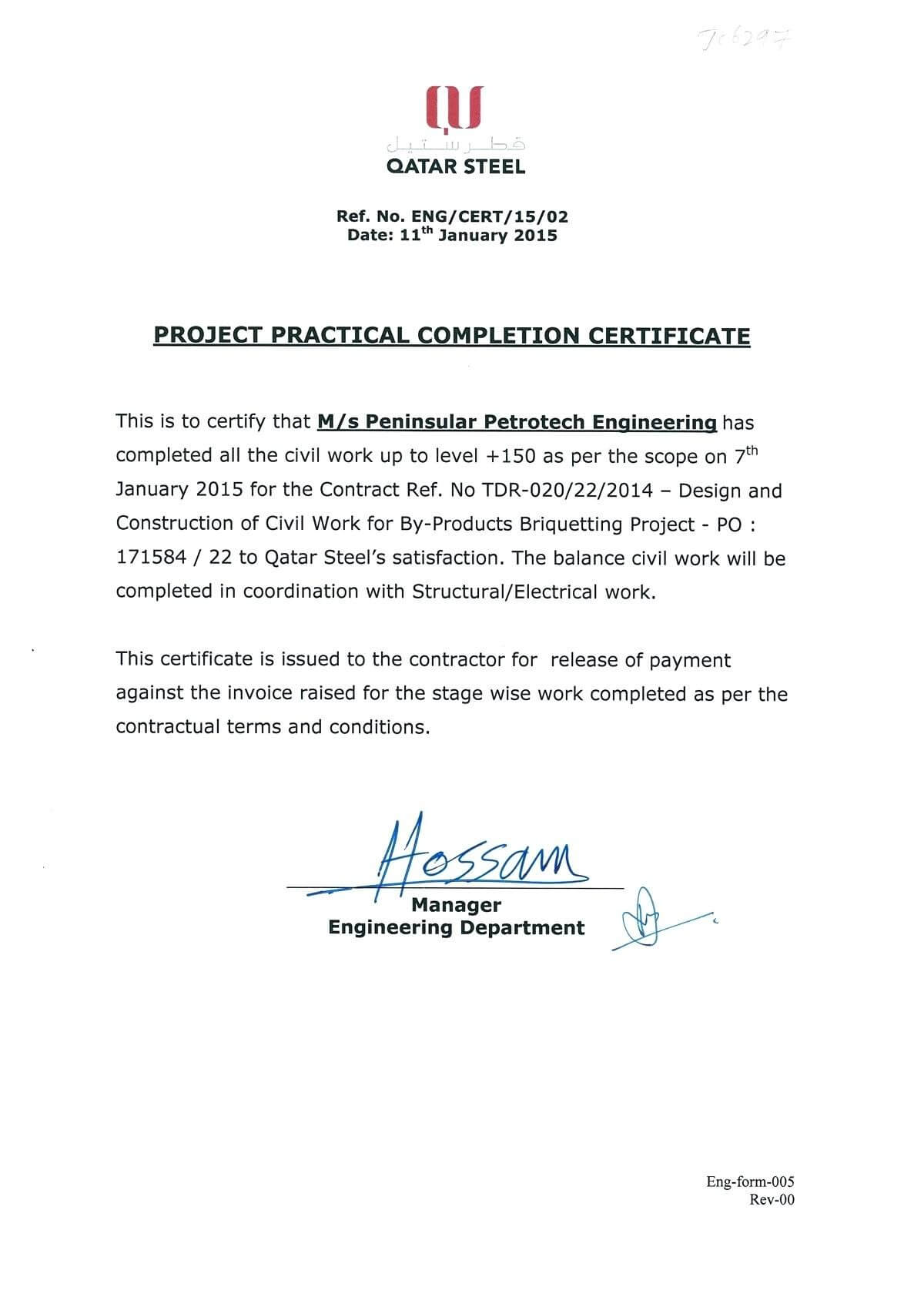 028 Construction Work Order Template Completion Certificate Regarding Practical Completion Certificate Template Uk