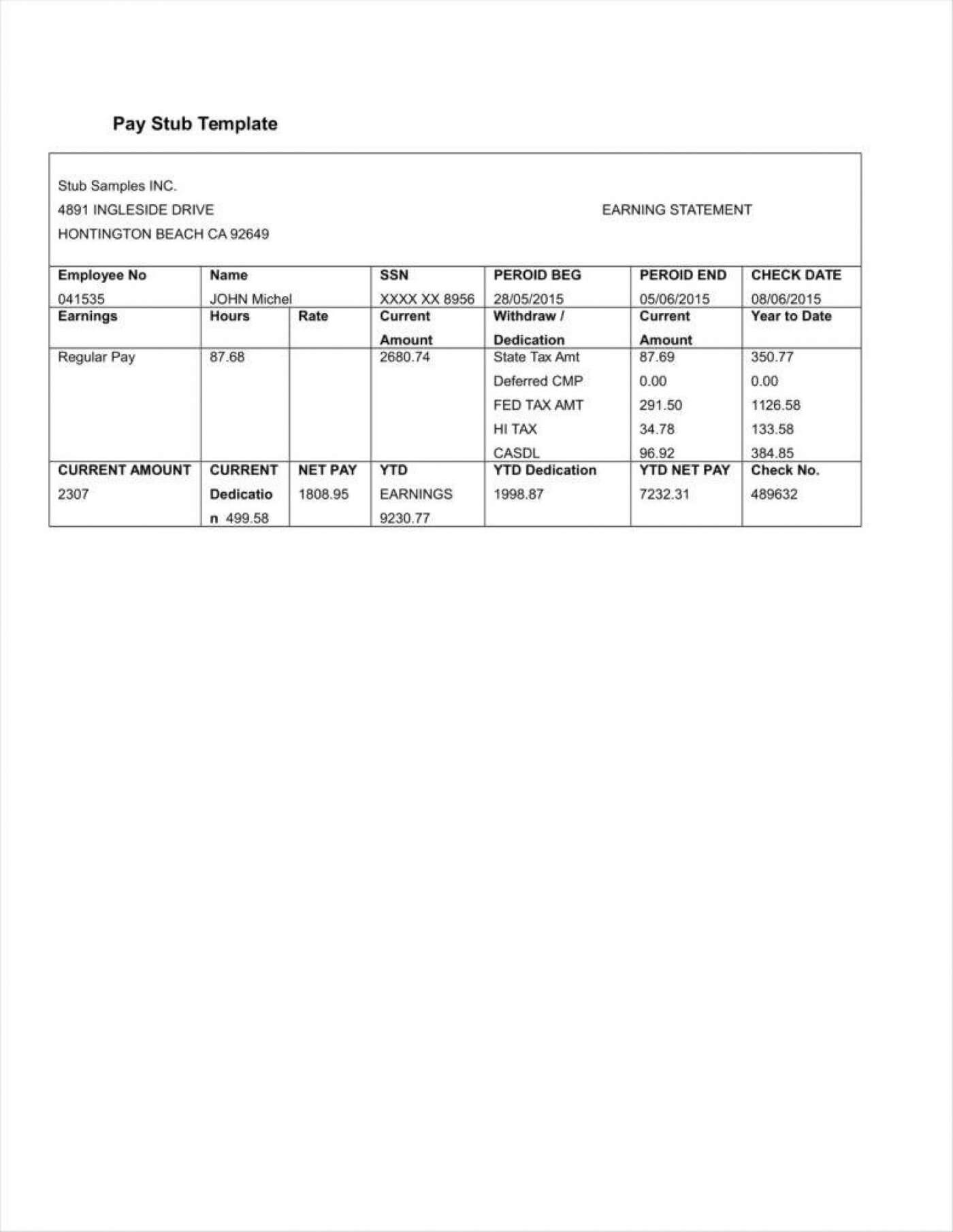 030 Free Printable Paycheck Stub Templates Pay Template Word Intended For Pay Stub Template Word Document