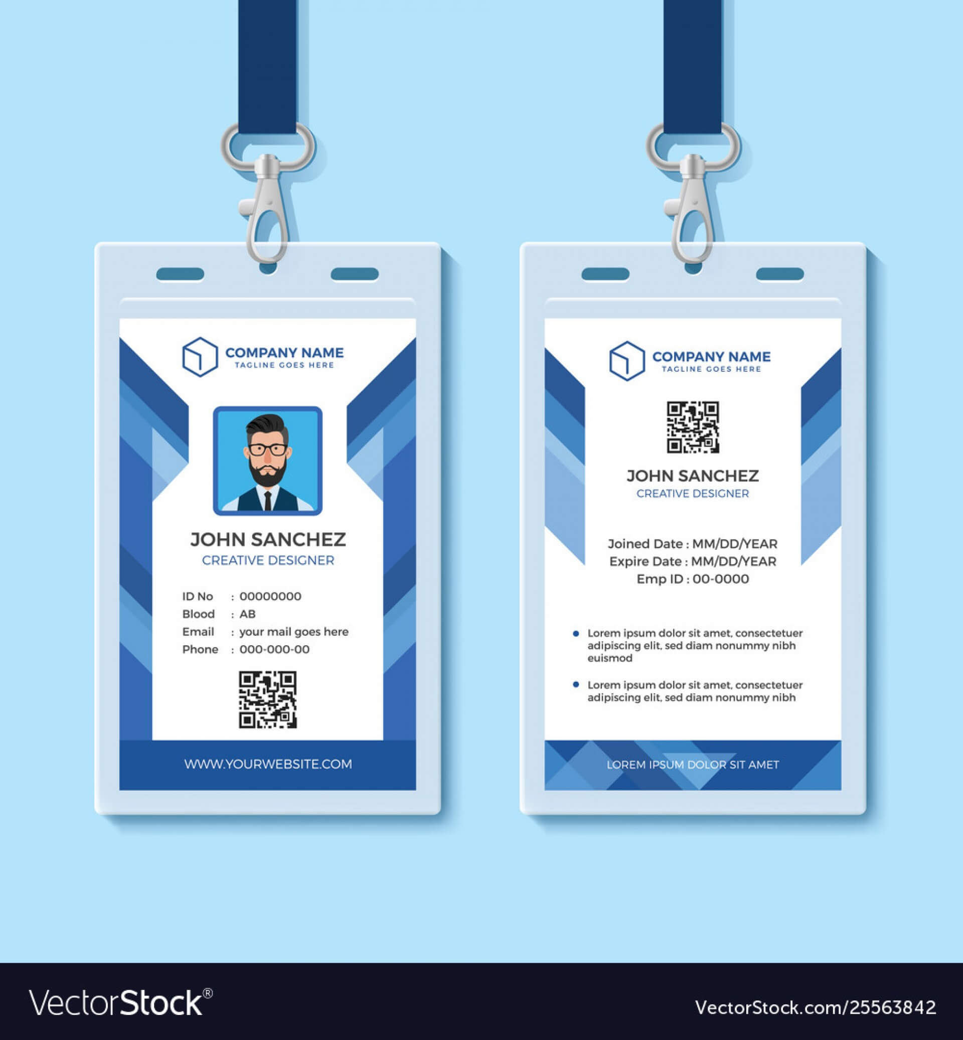042 Template Ideas Employee Id Card Templates Blue Design Inside Id Card Template Word Free