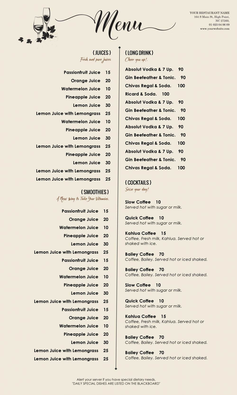 04D50 Restaurant Menu Templates Word | Wiring Resources Intended For Free Cafe Menu Templates For Word