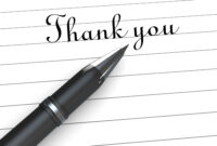 0914 Thank You Note On Paper With Pen Stock Photo in Powerpoint Thank You Card Template