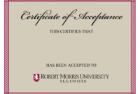 10+ Certificate Of Acceptance Templates | Free Printable within Certificate Of Acceptance Template