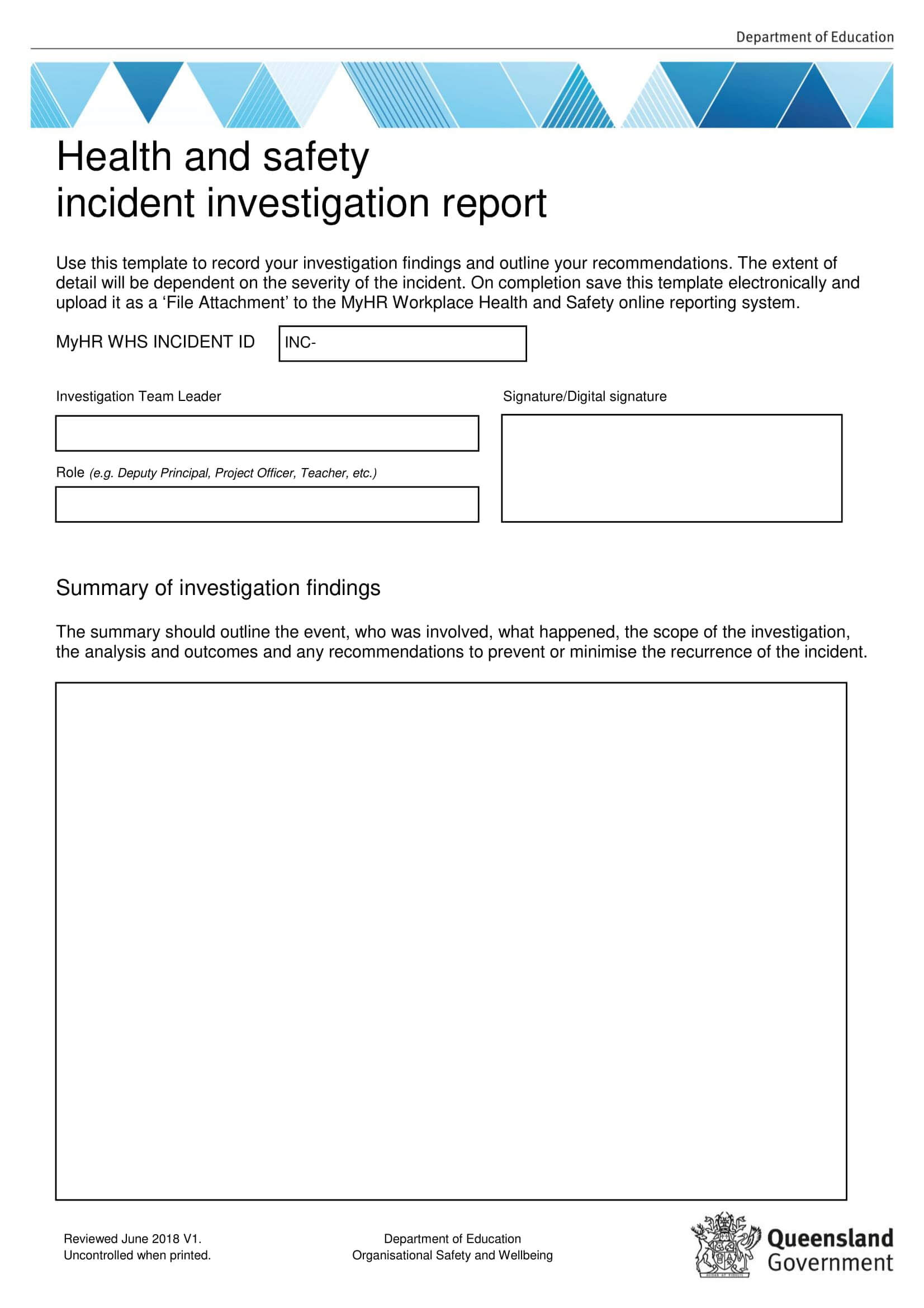 10+ Example Of Incident Report At Workplace | Billy Star For Incident Report Form Template Qld
